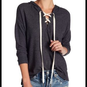 Project Social T Brushed Lace-Up Grey Hoodie